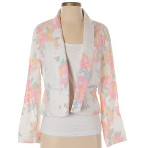 Old Navy White Floral Print Jacket